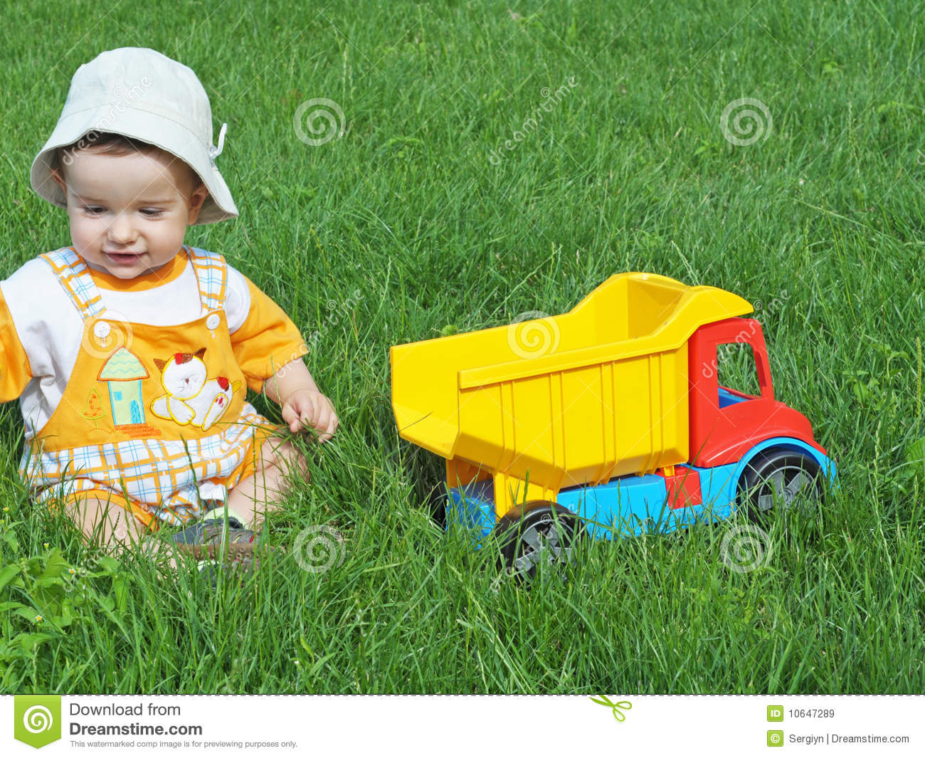 Baby Truck Baby With Toy Truck Royalty Free Stock Images Image