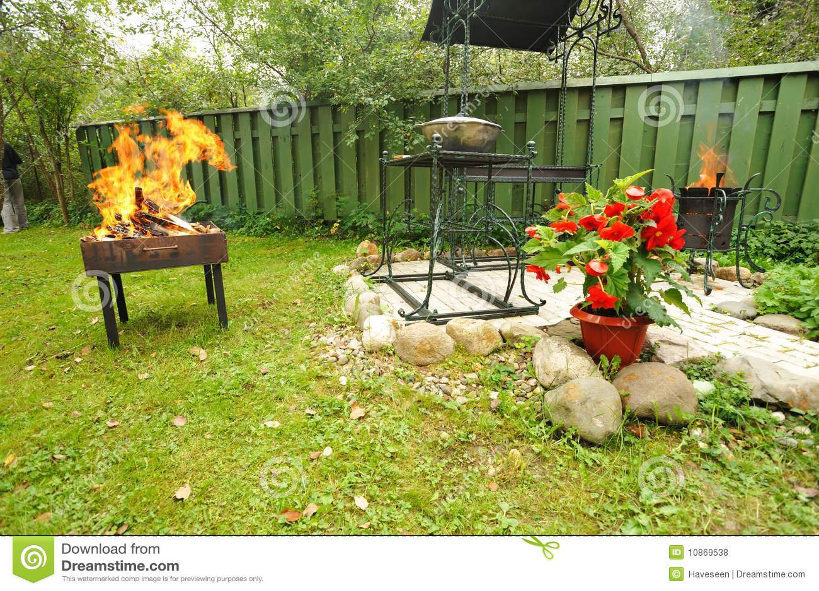 Backyard BBQ stock photo. Image of party, meal, backyard
