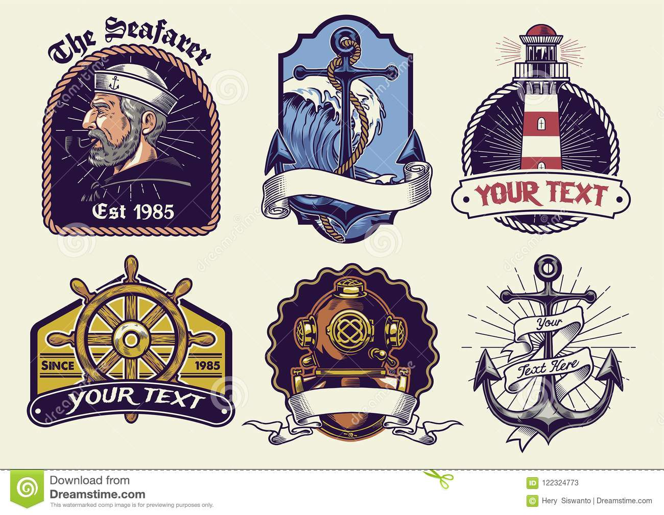 Vintage Look Badges Design Collection Nautical In Vintage Look Stock Vector - Illustration Of Sailor, Expedition: 122324773