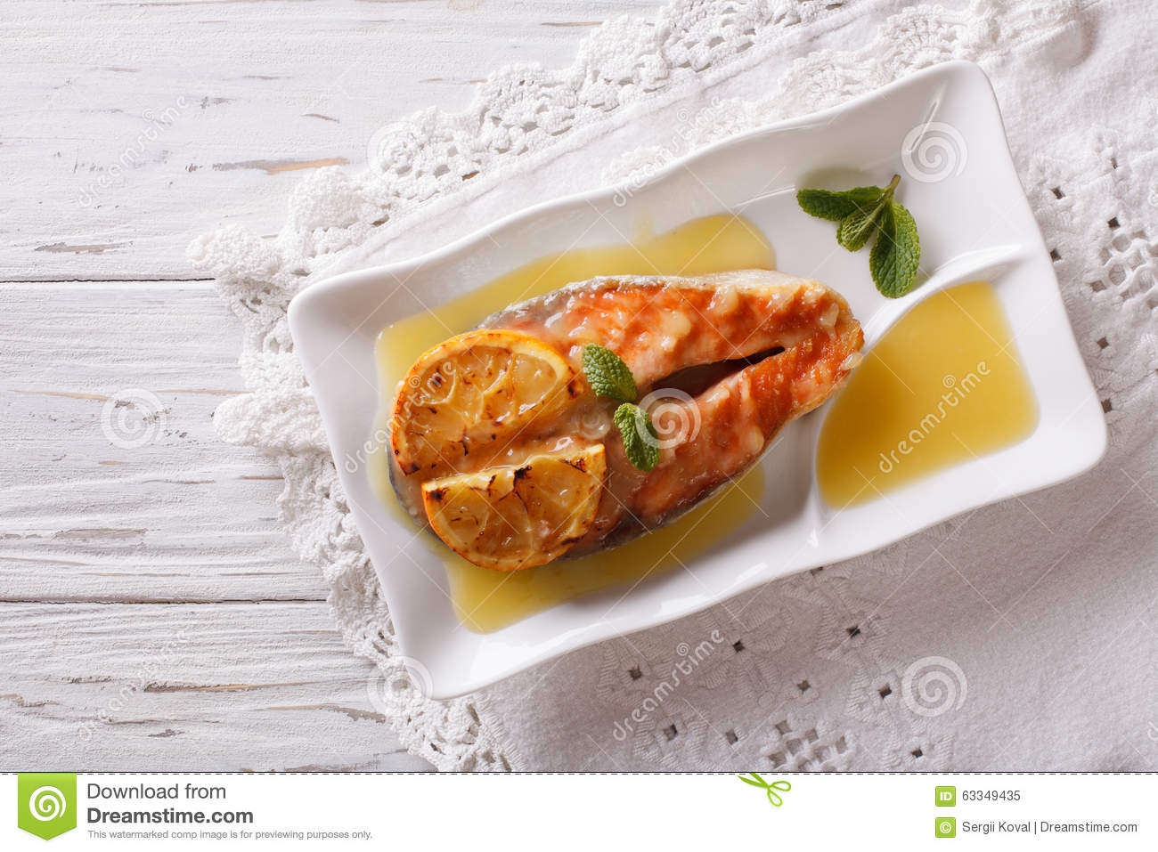 Plate With Food Top View Baked Salmon With Orange On A Plate Horizontal Top View