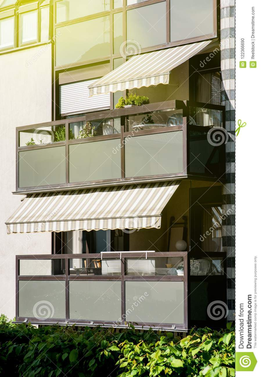 Balcon Design Balcon With Open Awning Sunlight Flare Stock Photo Image Of