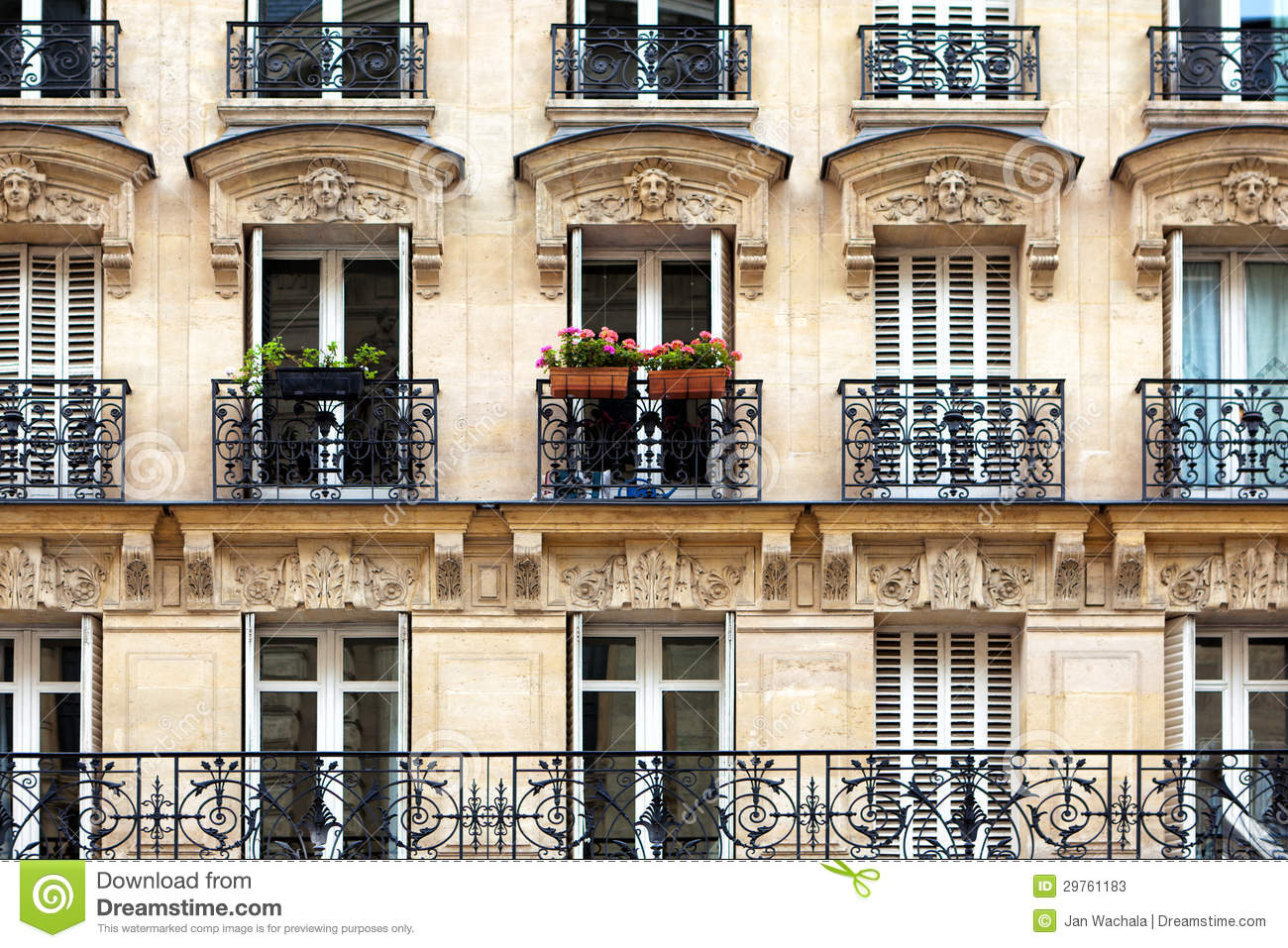Structure Batiment Haussmannien Balcons Parisiens Photos Stock Image 29761183