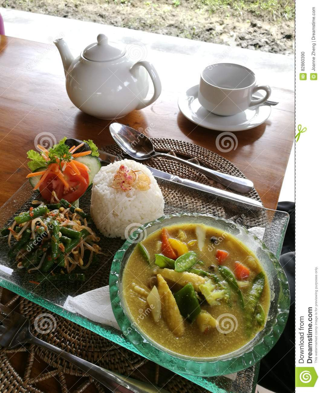 Cuisine Bali Balinese Cuisine Vegetables Curry With Rice Stock Photo Image Of