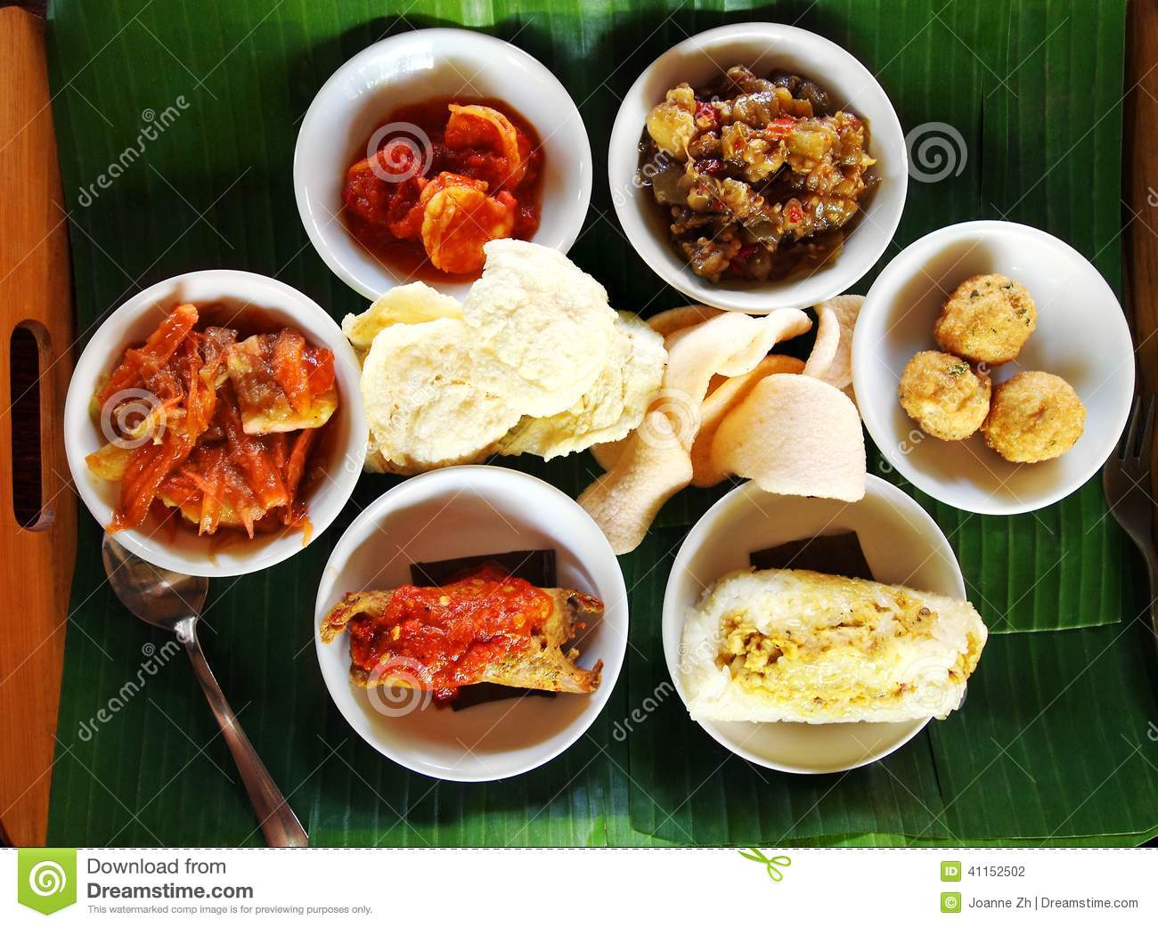 Cuisine Bali Balinese Taster Dishes Assorted Cuisine Stock Photo Image Of