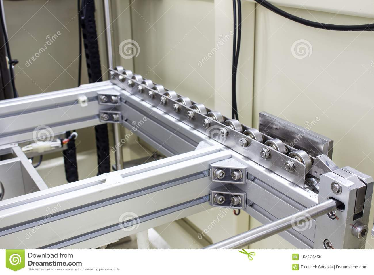 Bearing Machine The Ball Bearing For Conveyor Material In Machine Stock Image