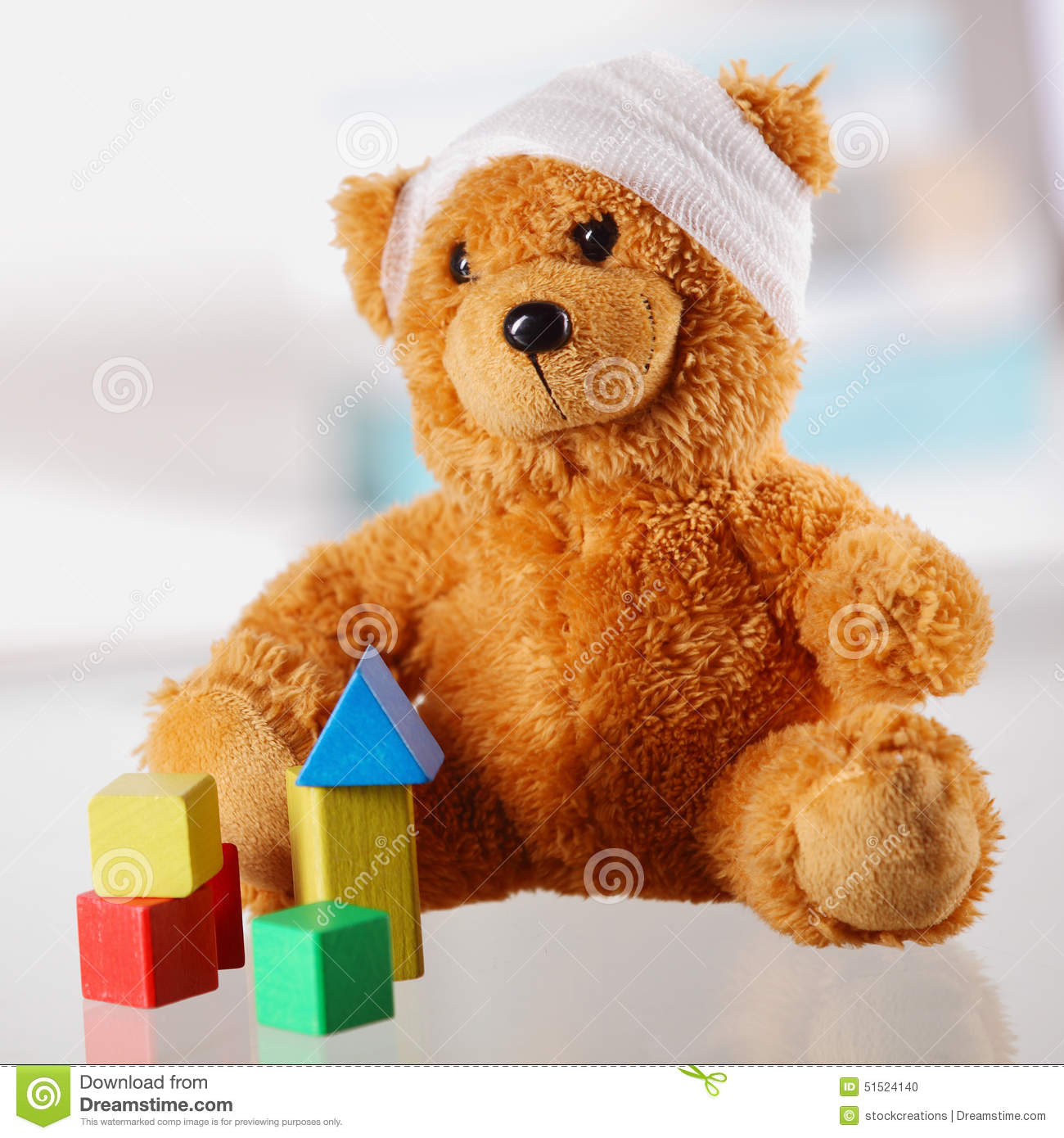 Classic Table Shapes Bandaged Classic Teddy Bear With Various Shapes Stock Photo