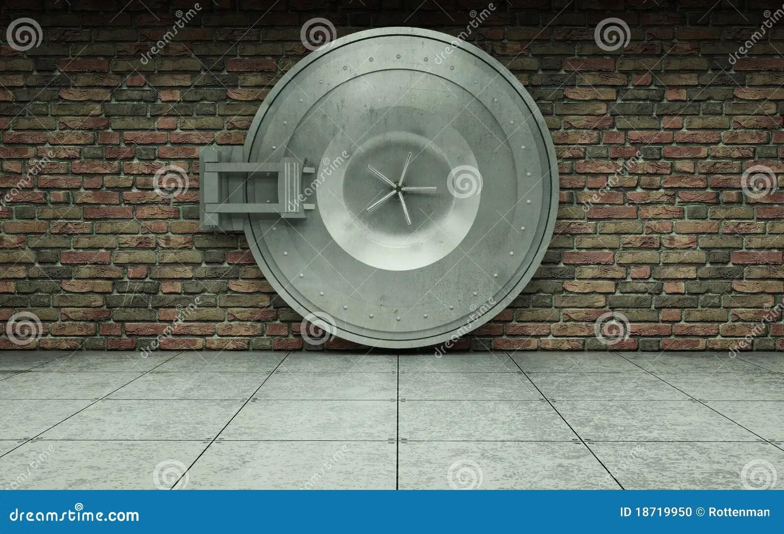 3d White Brick Wallpaper Bank Vault Door Stock Photo Image 18719950