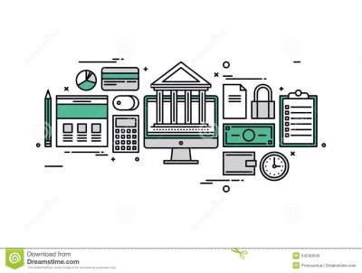 Banking And Finance Line Style Illustration Stock Vector - Image: 54240045