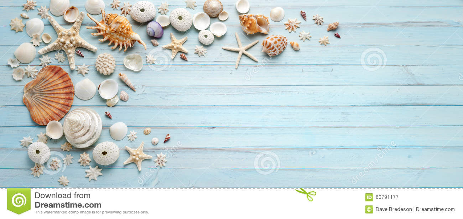 3d Grey Brick Effect Wallpaper Summer Shells Blue Wood Banner Background Stock Image