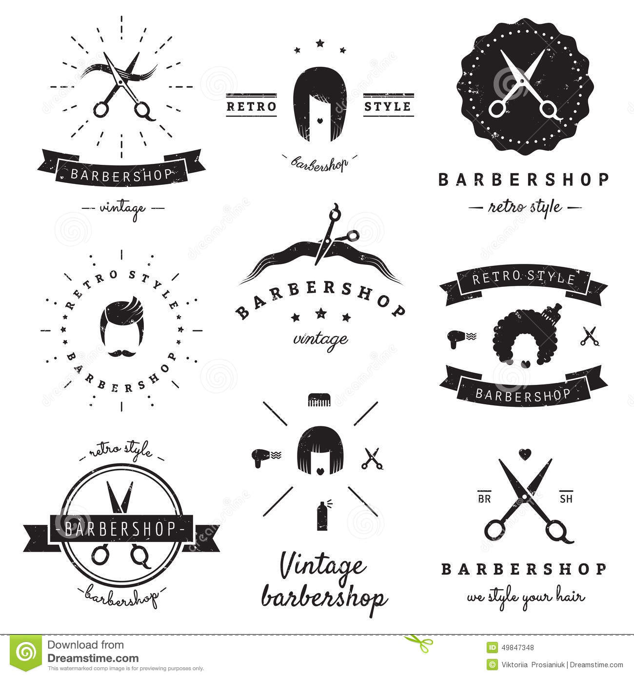 Logo Salon De Coiffure Barbershop Hair Salon Logo Vintage Vector Set Hipster And Retro