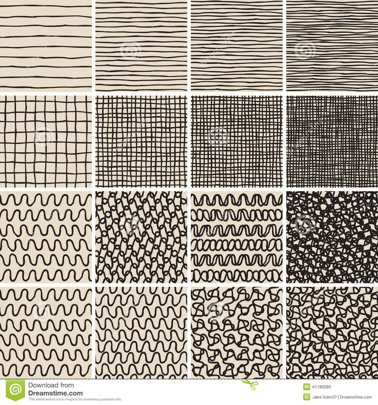Water Animation Wallpaper Basic Doodle Seamless Pattern Set No 1 In Black And White