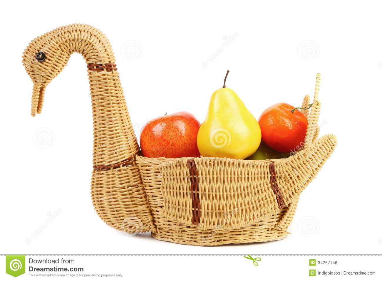 Designer Fruit Basket Basket Swan With Decorative Fruits Royalty Free Stock