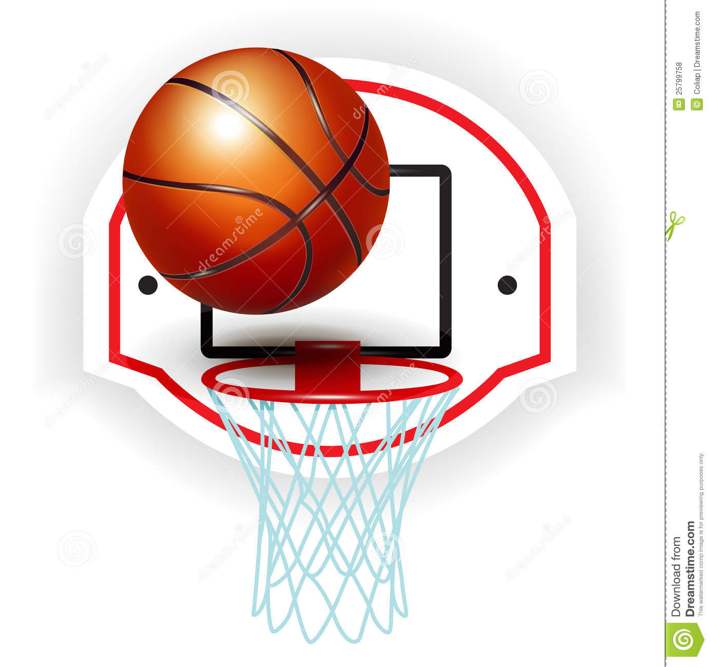 Basketball Ring Target Red Basketball Backboard And Ball Isolated Vector