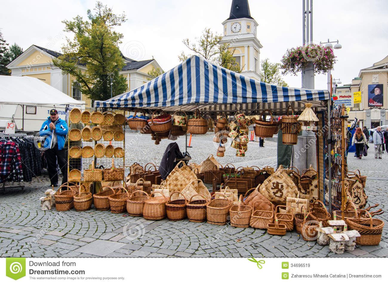 Stock Markets Open Time Baskets At An Open Air Market Editorial Stock Image