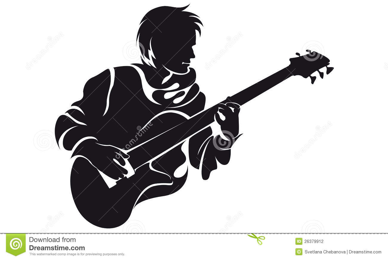 Download Wallpaper Of Girl With Guitar Bassist Silhouette Stock Photography Image 26379912