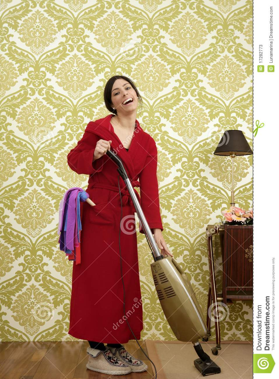 Beautiful Indian Girl Face Wallpaper Bathrobe Retro Housewife Woman Vacuum Cleaner Stock Photos
