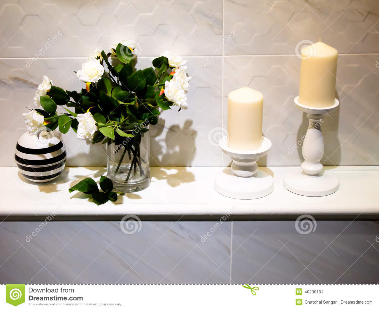 Modern bathroom decoration with candle and rose flower
