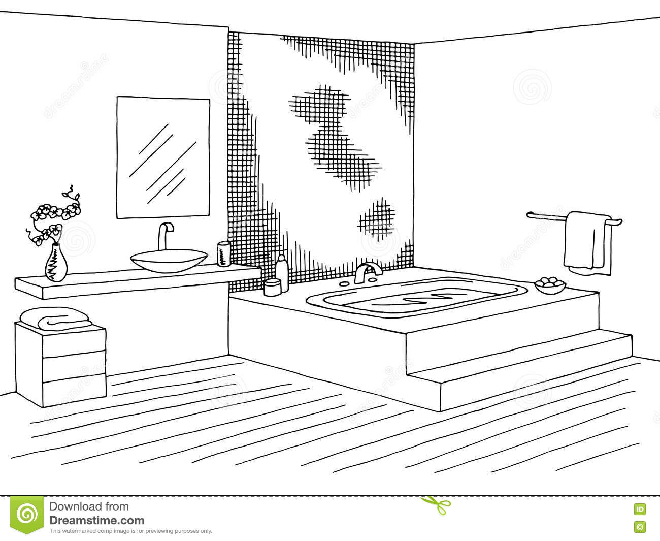 Bathroom clipart black and white - Bathroom Clipart Black And White Bathroom Black Graphic Illustration Interior Sketch Vector White Download