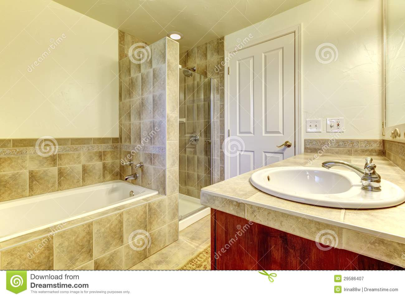 Baños Print Bathroom With Tub Small Shower And Wood Cabinets Royalty