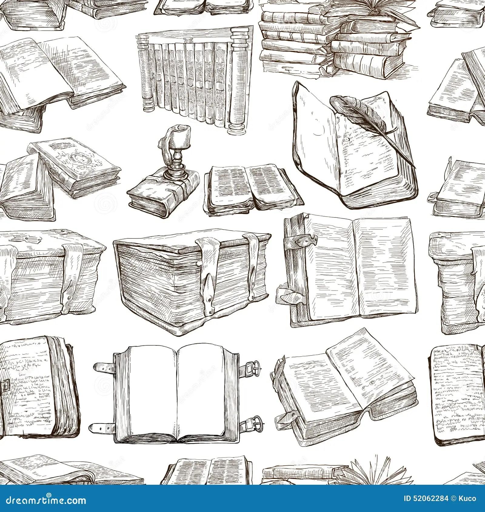 bucher satz eine hand gezeichnete illustrationen nahtlos