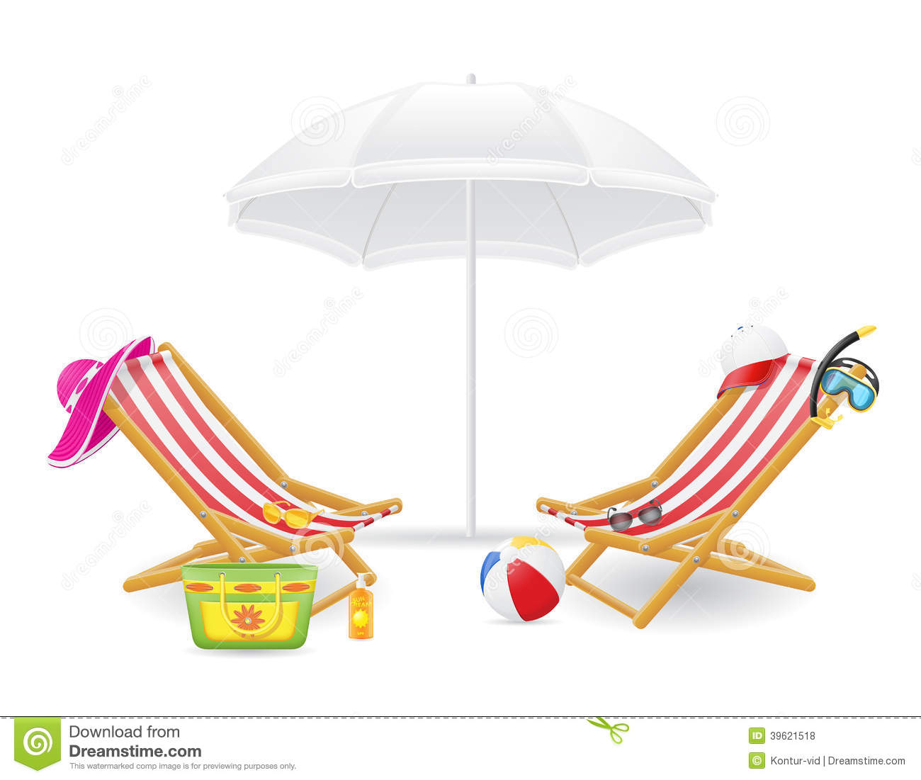 Beach chair and parasol vector illustration stock vector