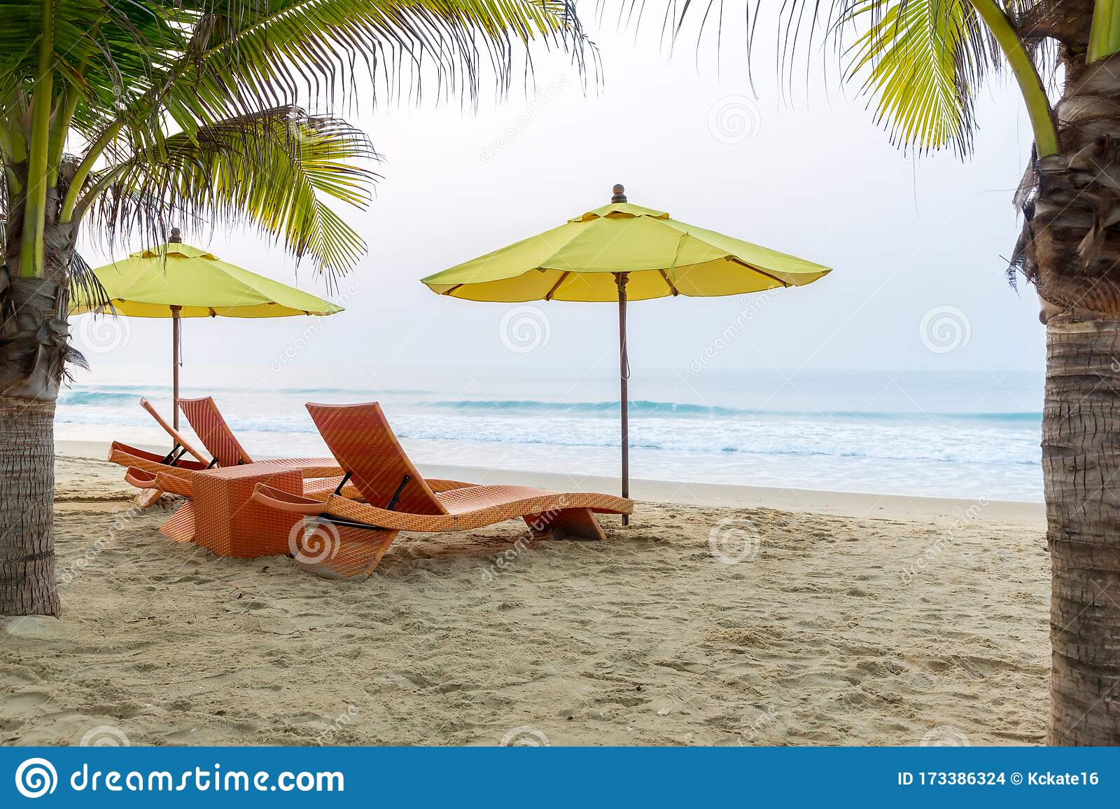 Beach Chair Under The Big Umbrella And Was On The Beach Beautiful Beach Chairs On The Sandy Beach Near The Sea Stock Photo Image Of Nature Sandy 173386324