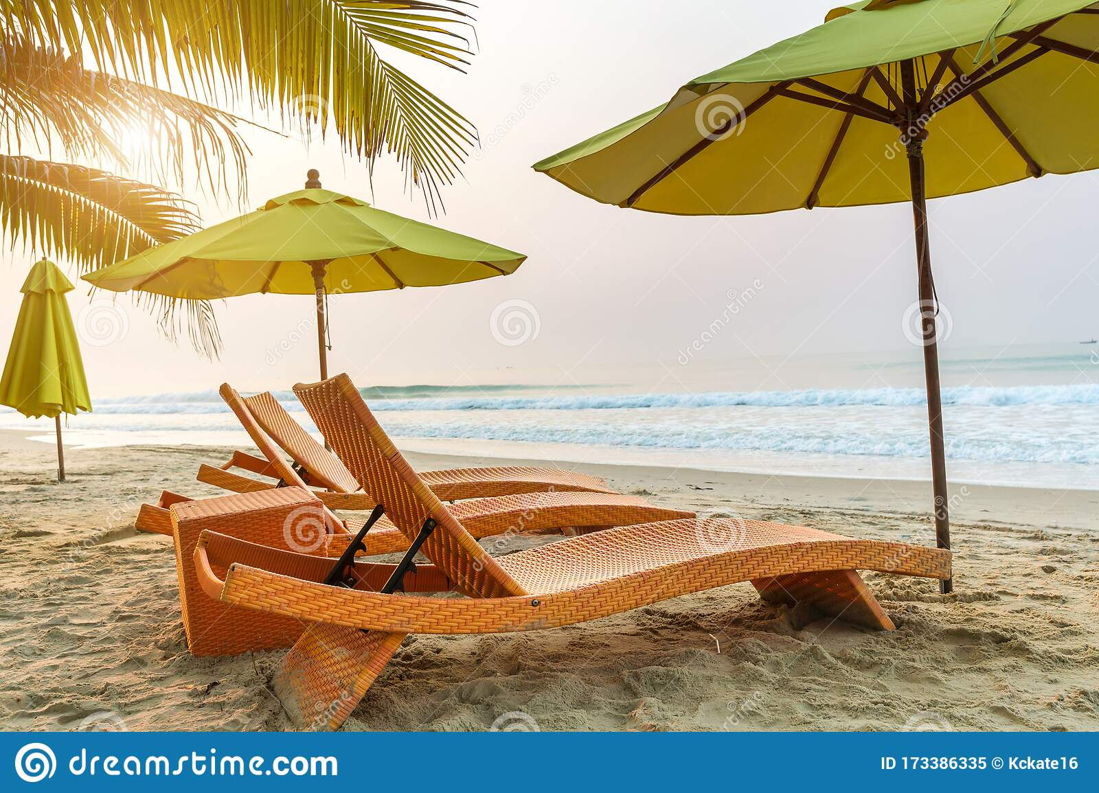 Beach Chair Under The Big Umbrella And Was On The Beach Beautiful Beach Chairs On The Sandy Beach Near The Sea Stock Image Image Of Relaxation Cruise 173386335