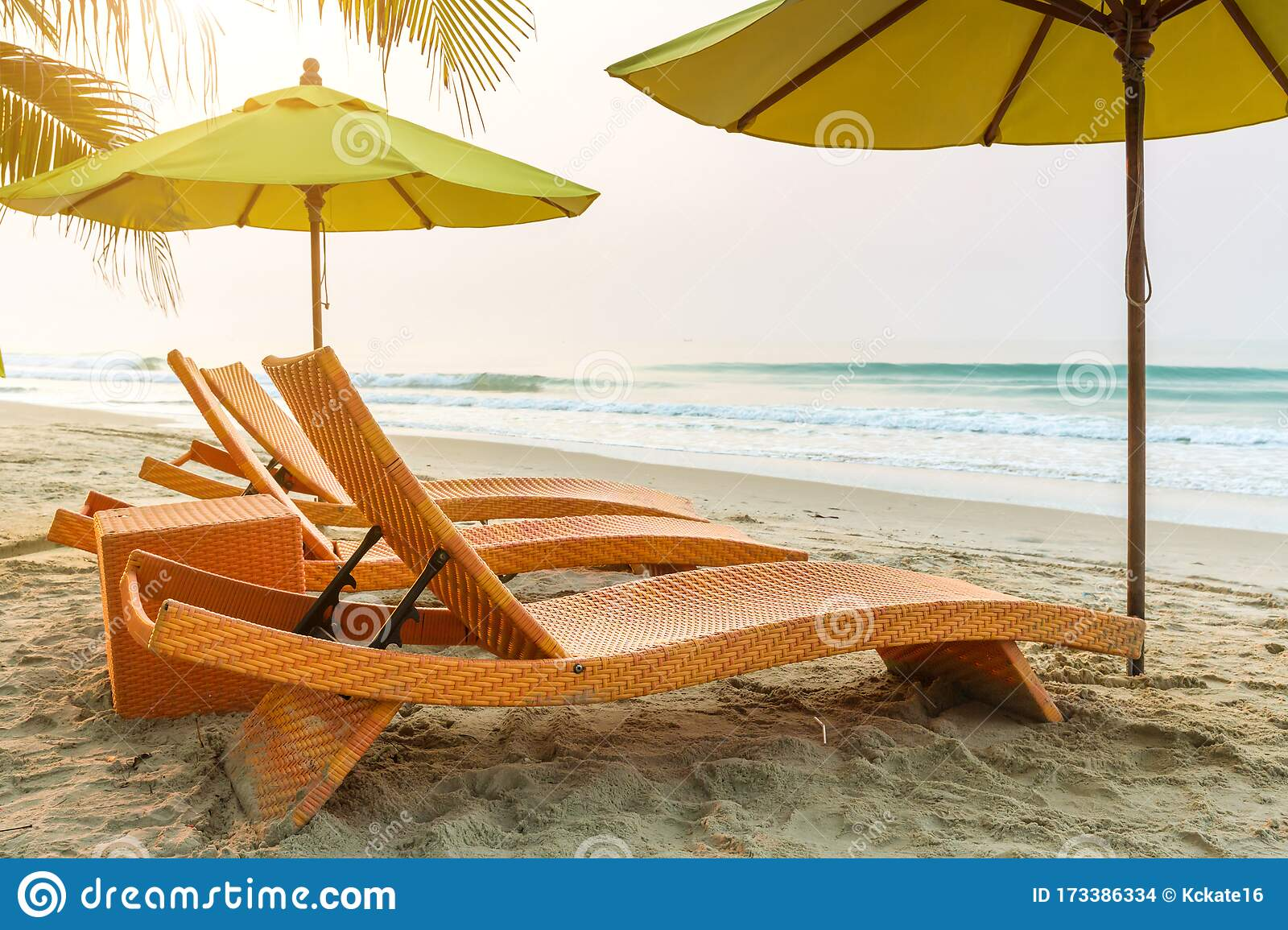 Beach Chair Under The Big Umbrella And Was On The Beach Beautiful Beach Chairs On The Sandy Beach Near The Sea Stock Photo Image Of Cruise Beauty 173386334
