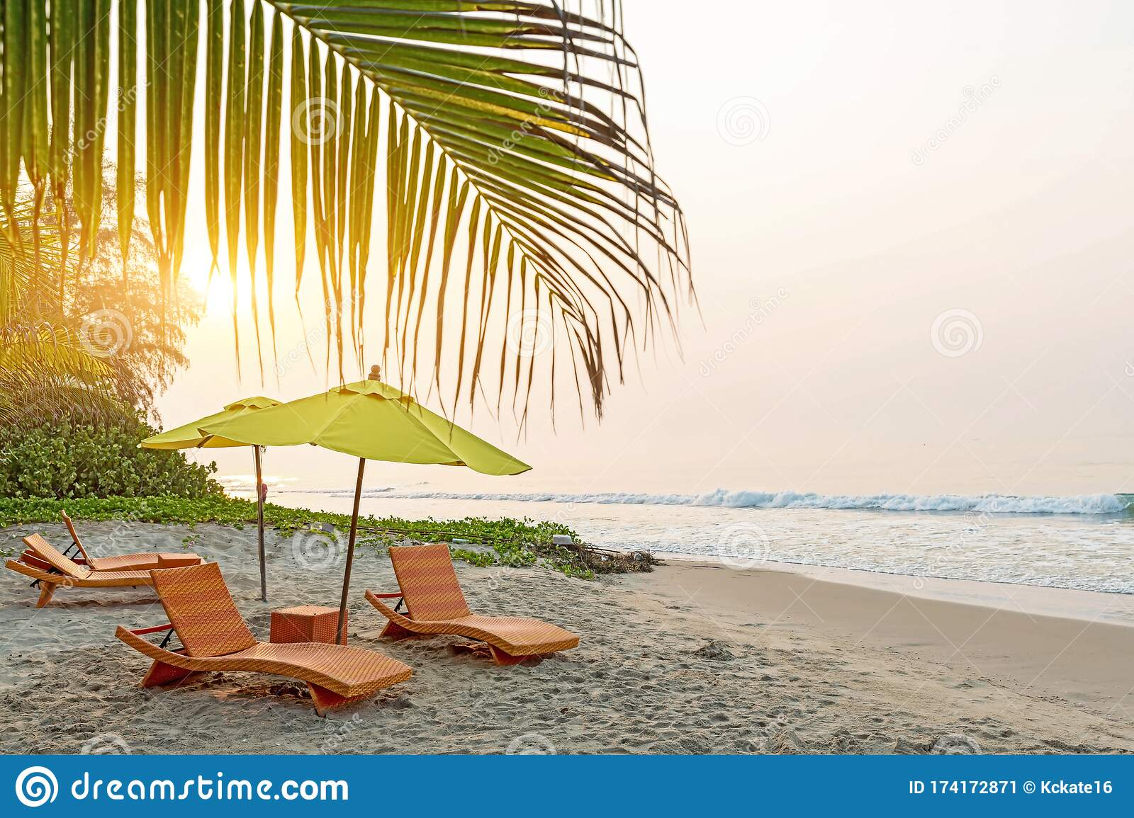 Beach Chair Under The Big Umbrella And Was On The Beach Beautiful Beach Chairs On The Sandy Beach Near The Sea Summer Holiday Stock Image Image Of Leisure Lounge 174172871