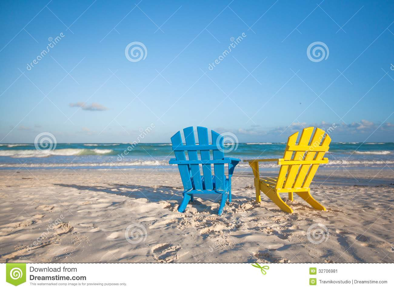 Beach Wooden Colorful Chairs For Vacations On Royalty Free