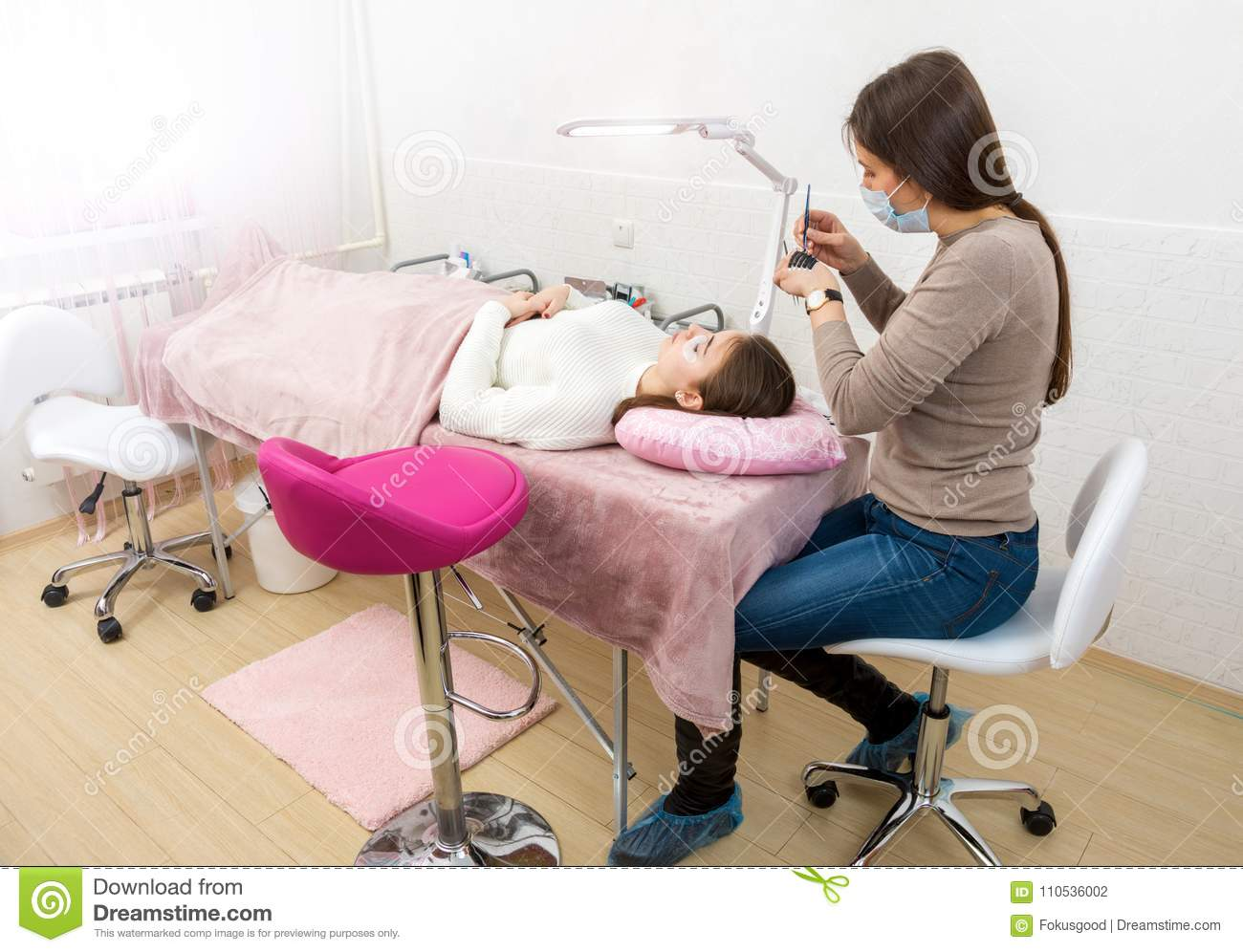 Process Of Eyelash Extension In The Beauty Salon Stock Photo Image Of Equipment Cotton 110536002
