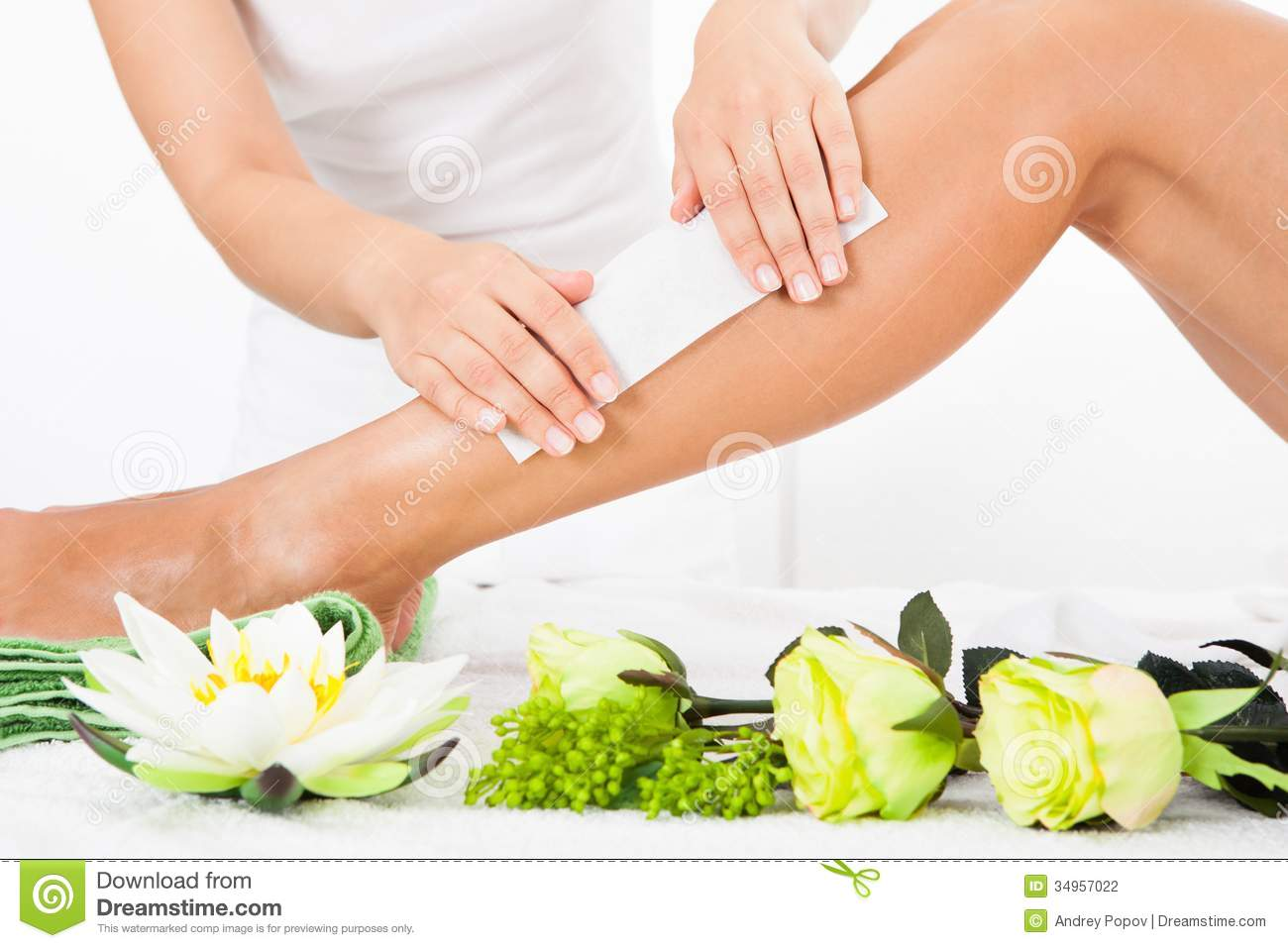 Spa Waxing Beautician Waxing A Woman 39s Leg Stock Photography Image