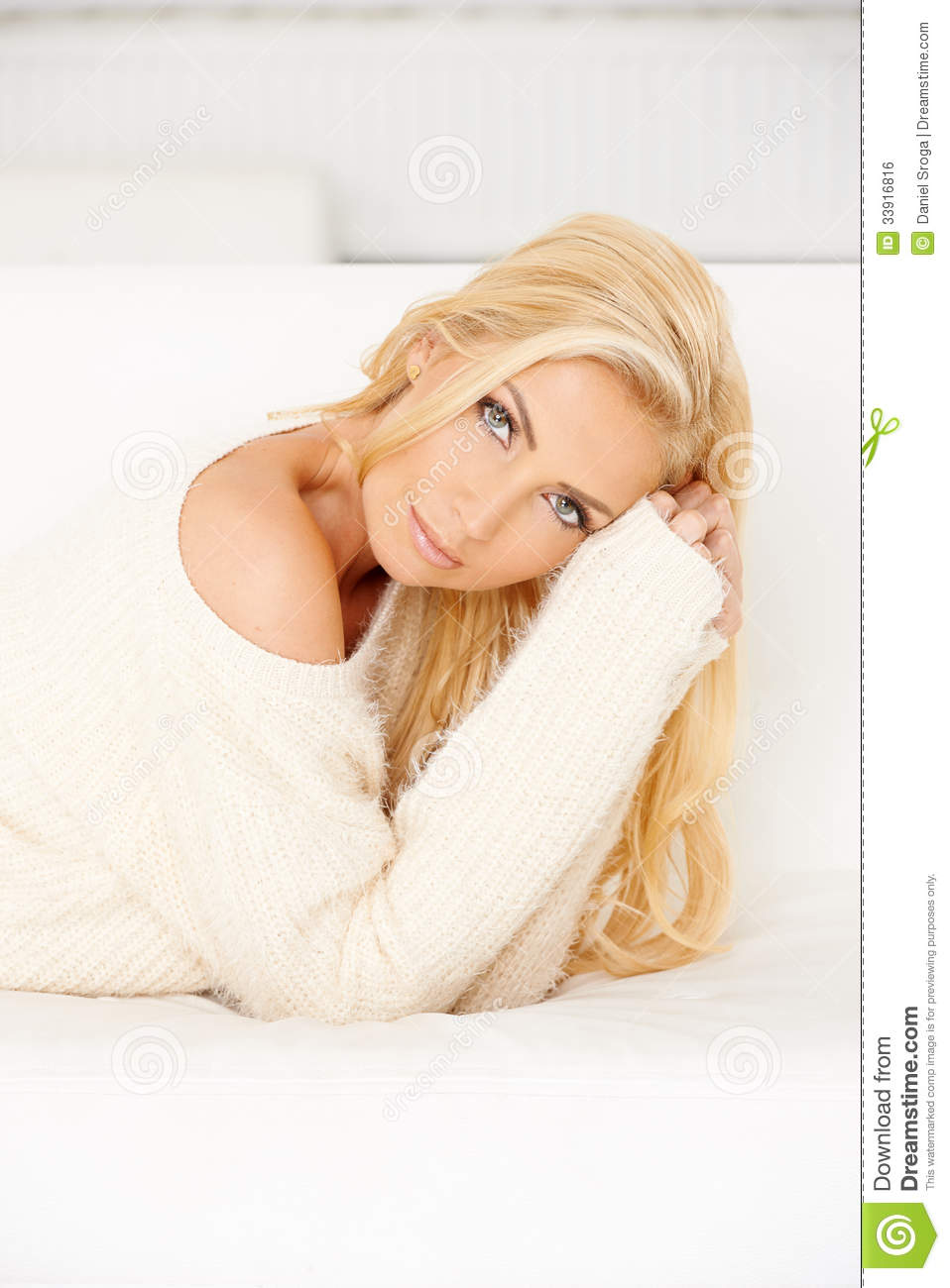 Free Sexmovie Blond Sofa Beautiful Blond Woman Lying On Sofa Stock Photo - Image Of