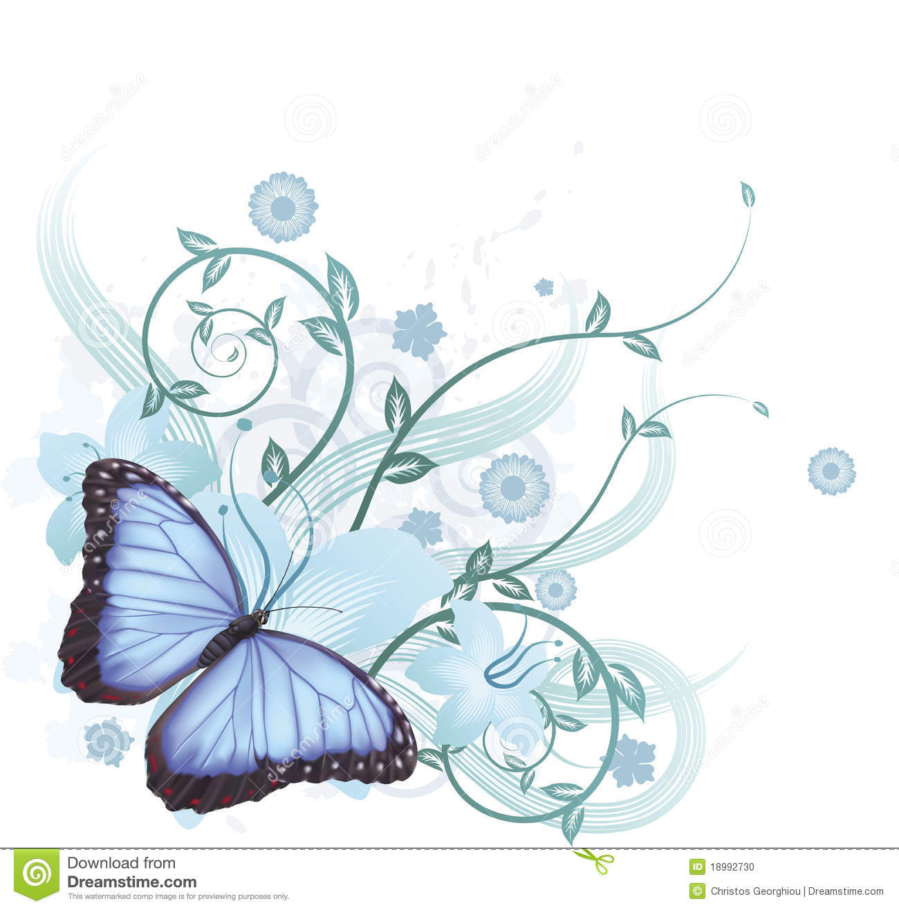 Tree Design On Circuit Board Background Vector Image Auto Stock Photo 34279490 Beautiful Blue Butterfly