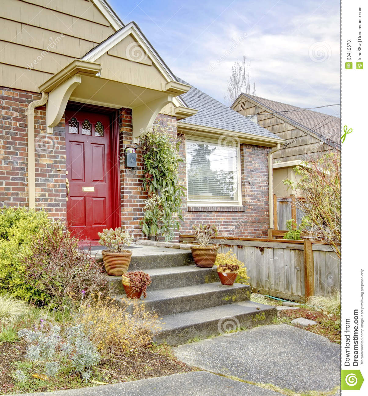 Beautiful Home Entrances Beautiful Brick House With Red Entrance Door Royalty Free