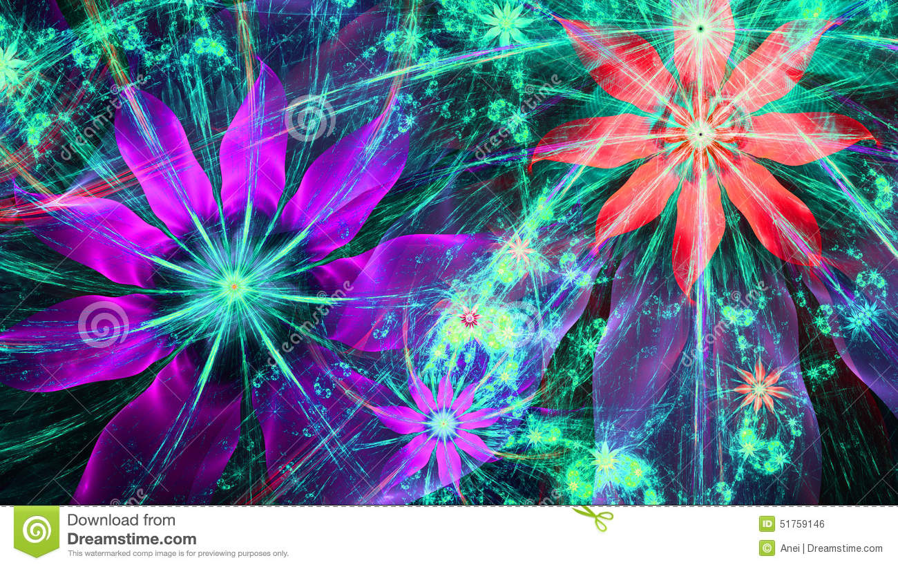 Red Cyan 3d Wallpapers Beautiful Bright Vivid Modern Flower Background In Shining