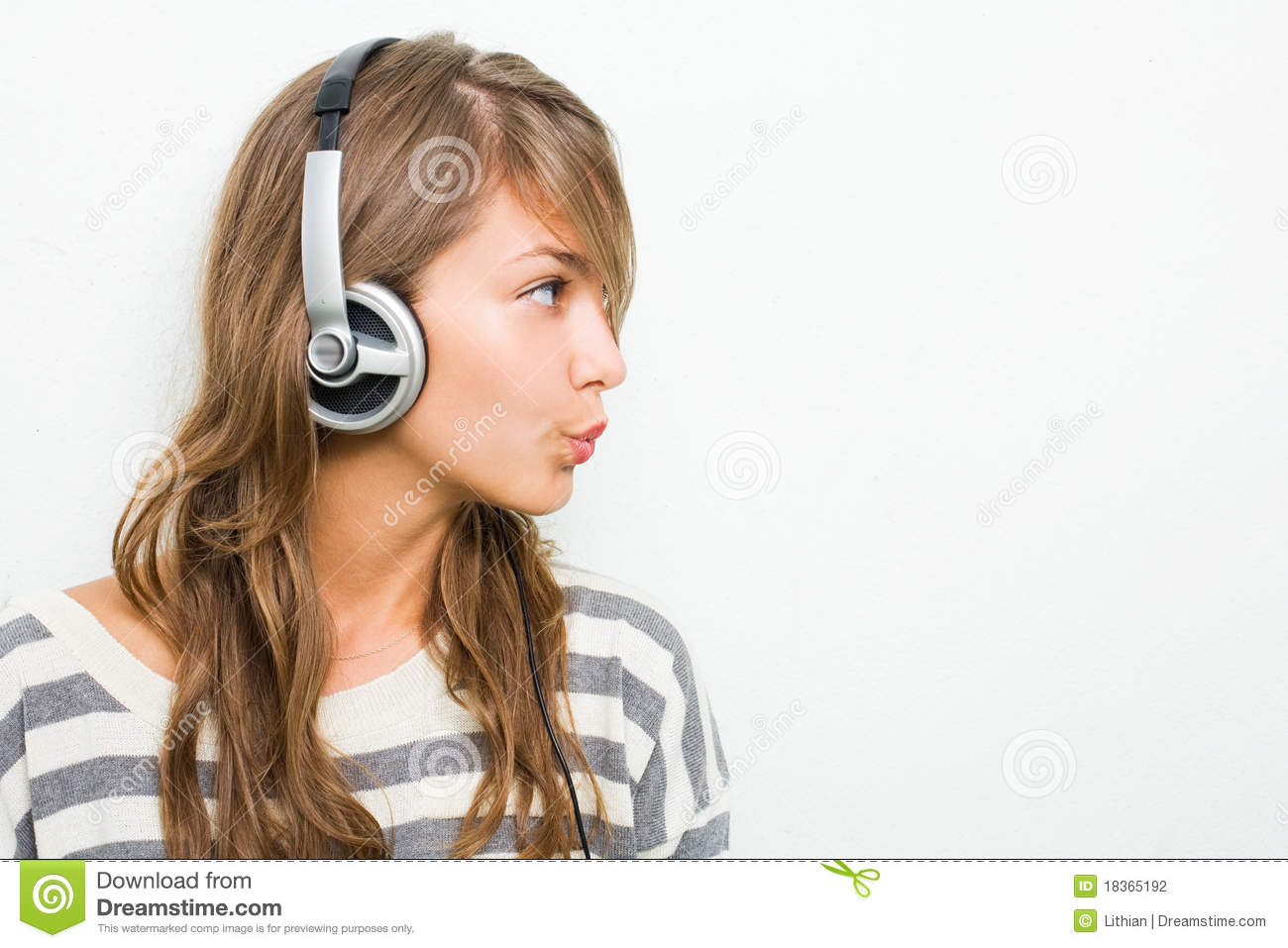 Beautiful Headphones Beautiful Brunette Wearing Headphones Whistling Stock