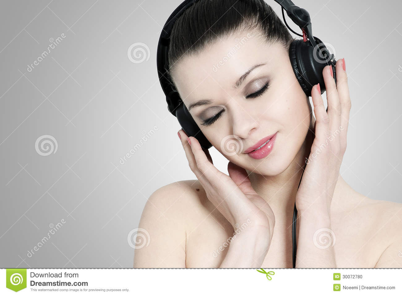 Beautiful Headphones Beautiful Brunette Weoman With Headphones Stock Photo