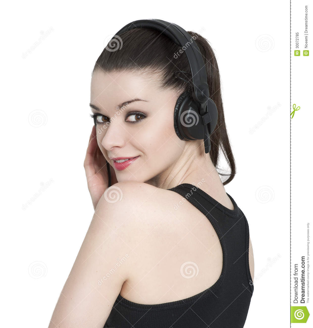 Beautiful Headphones Beautiful Brunette Woman With Headphones Royalty Free