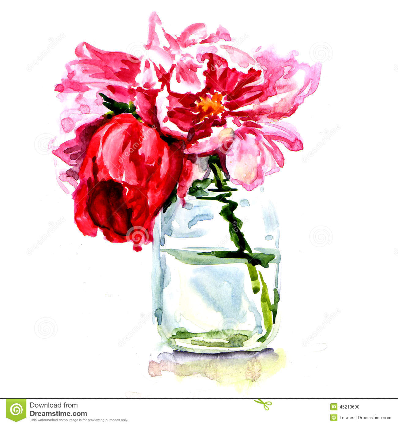 Beautiful Flower Vases Beautiful Flowers In Vase Isolated Stock Illustration