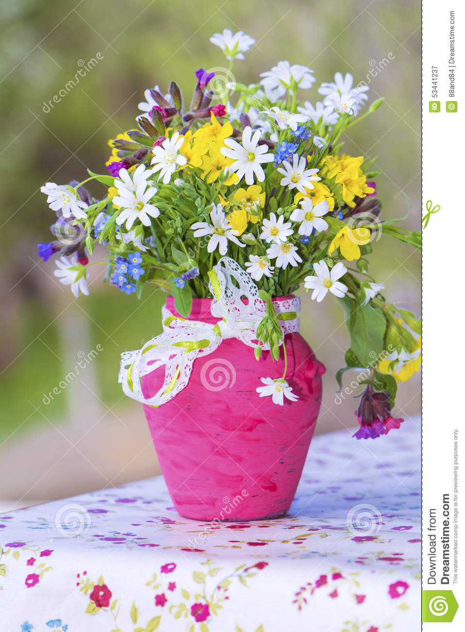 Free Fall Flower Desktop Wallpaper Beautiful Forest Flowers In Pink Vase With Ribbon Close