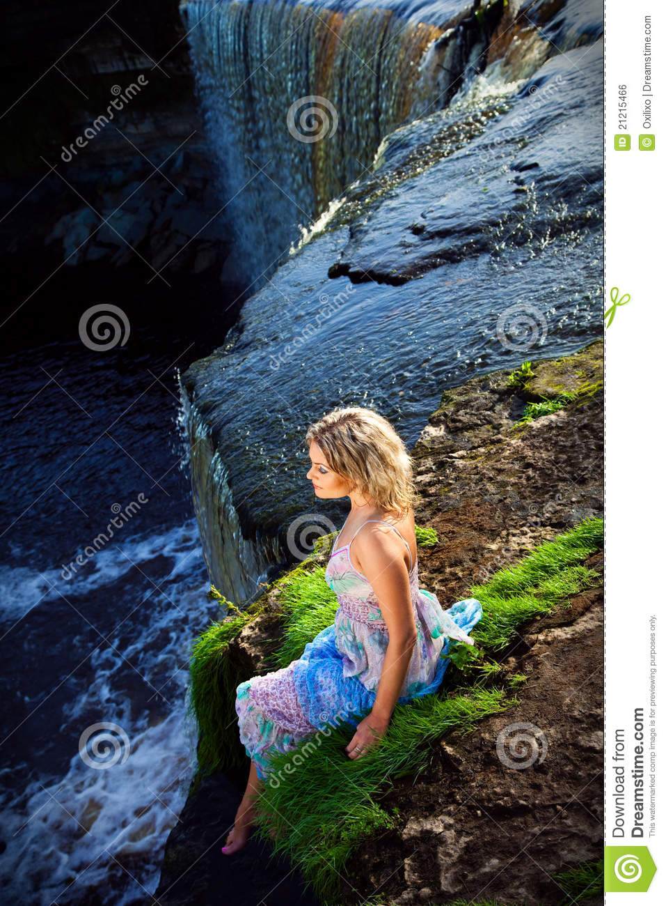 Beautiful Wallpapers 3d Animation Beautiful Girl On Brink Of River Waterfalls Royalty Free