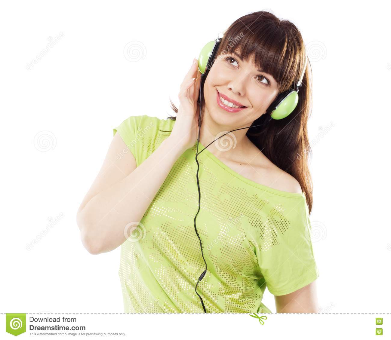 Beautiful Headphones Beautiful Girl With Green Headphones Stock Photos Image