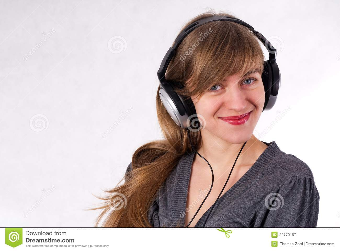 Beautiful Headphones Beautiful Girl With Headphones Royalty Free Stock