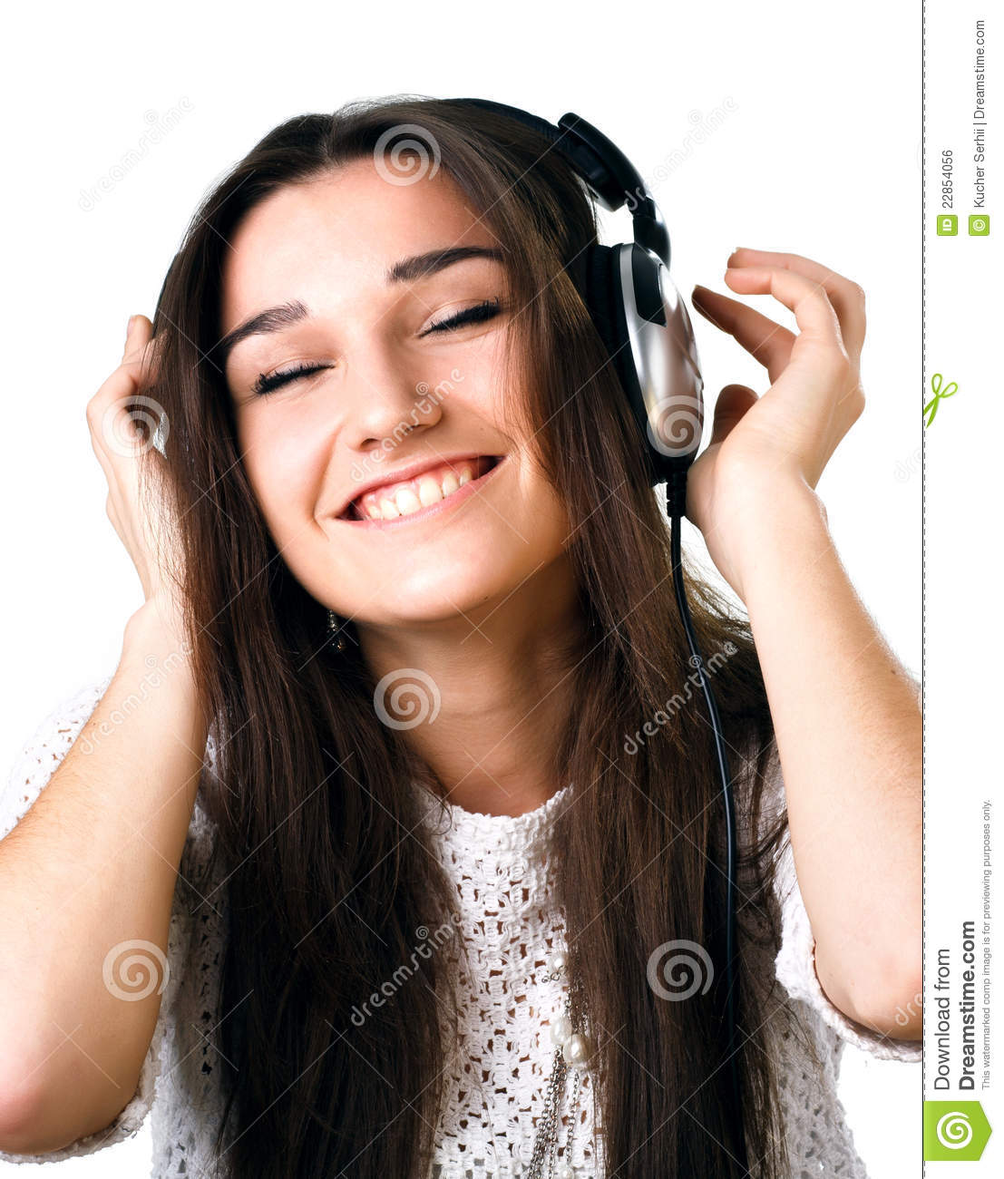 Beautiful Headphones Beautiful Girl In Headphones Royalty Free Stock Image