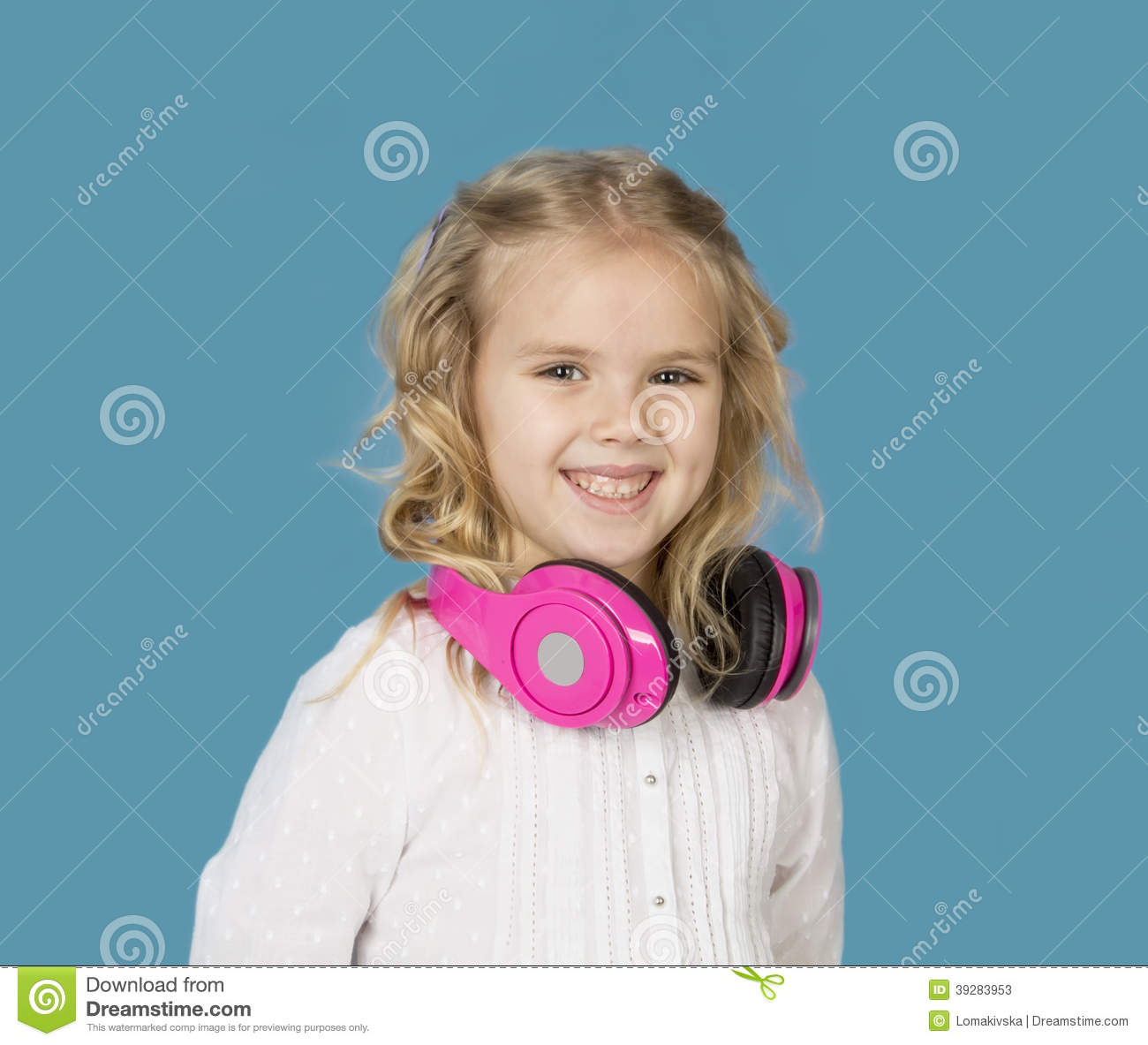 Beautiful Headphones Beautiful Girl With Headphones Smiling Stock Photo Image