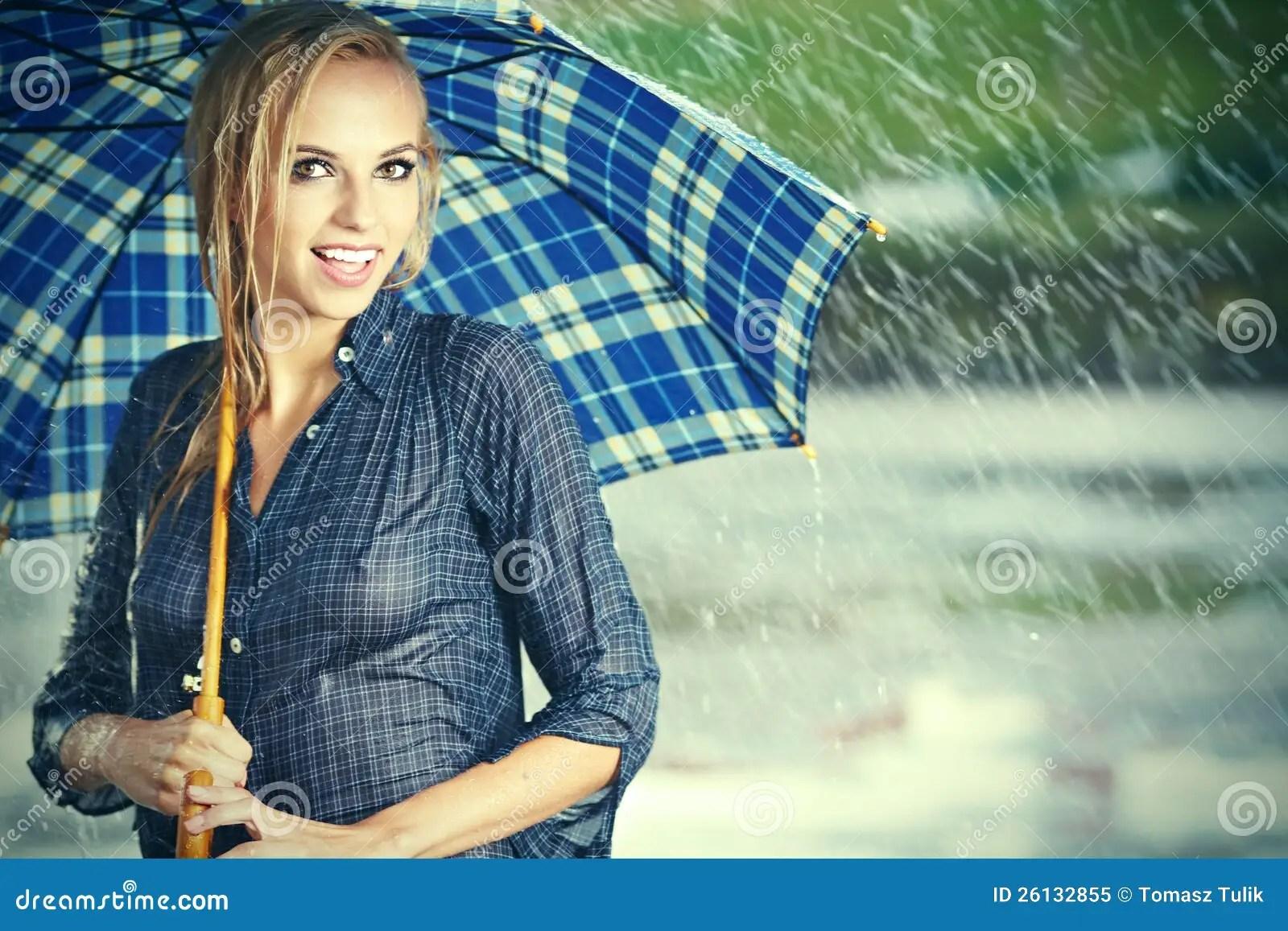 Lonely Girl Walking In Rain Wallpaper Beautiful Girl In Rain Royalty Free Stock Photo Image