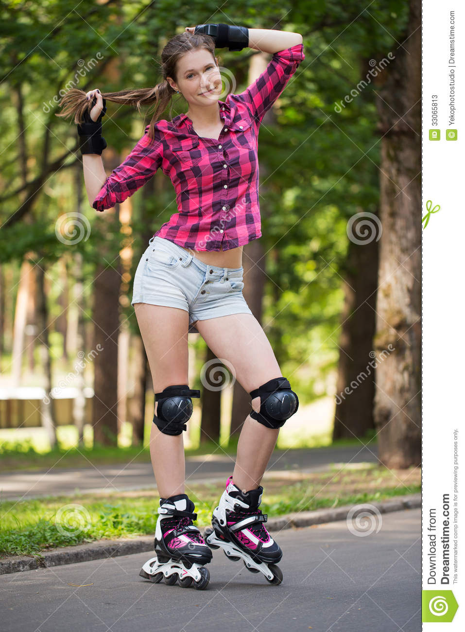 Candy Girl Wallpaper Beautiful Girl On Rollerblades Stock Image Image Of