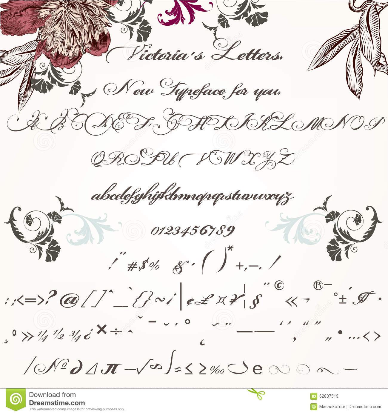 Calligraphy Fonts Victorian Beautiful Hand Made Script Typeface Or Font In Vintage Victorian