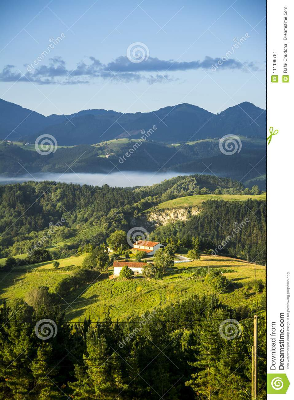 Camino Del Norte July 2017 Pyrenees Mountains Landscape On Camino Del Norte Stock Photo